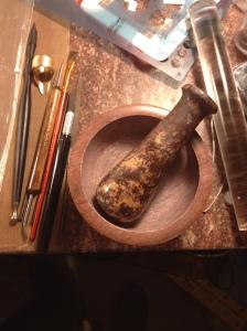 My gorgeous mortar and pestle! I love how it matches my marble top work bench.